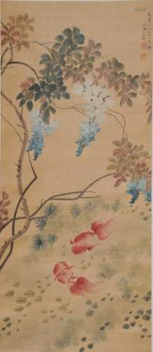 Chinese Painting of Goldfish by Weng Xiaohai