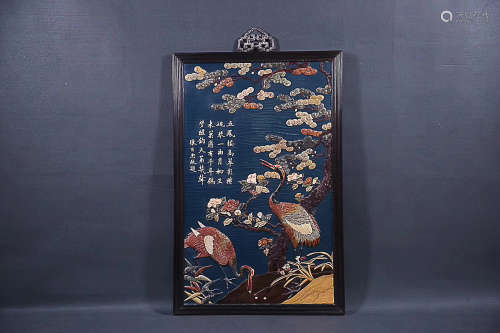 A ROSEWOOD LACQUER BASE SQUARE HANGING SCREEN, QING DYNASTY