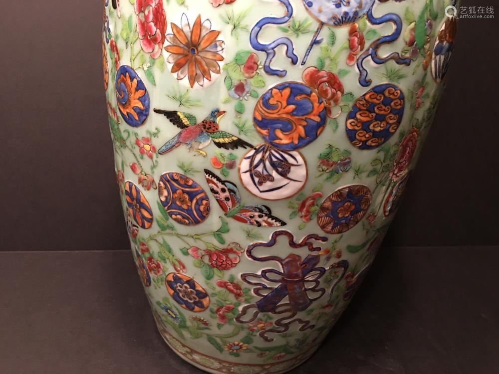 Antique Chinese Celadon Famille Rose Baofuping Vase Mid 19th C