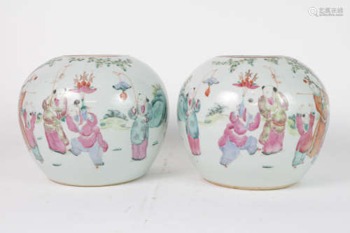 Pair 18th C. Famille Rose Porcelain Jars