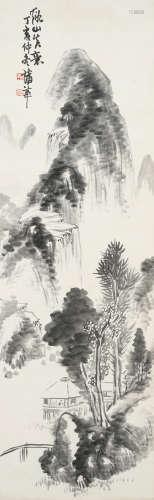 蒲华(款) 秋山诗意图 水墨纸本 立轴