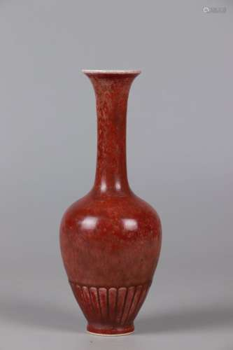 A RED GLAZED BOTTLE VASE, KANGXI MARK