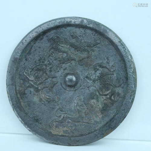 206BC-220AD, A MYTHICAL CREATURES PATTERN BRONZE MIRROR, HAN DYNASTY