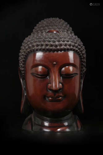 14-16TH CENTURY, A BRONZE BUDDHA HEAD DESIGN ORNAMENT, MING DYNASTY