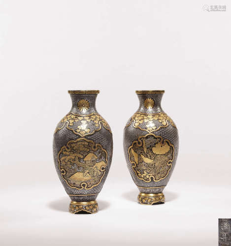 浅井 金镶嵌菊纹入花瓶 (一对)