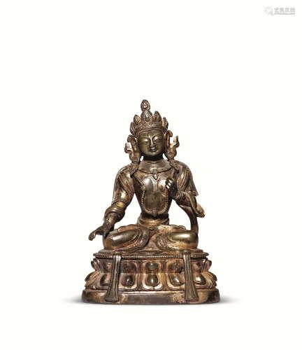 十八世纪 铜鎏金佛座像