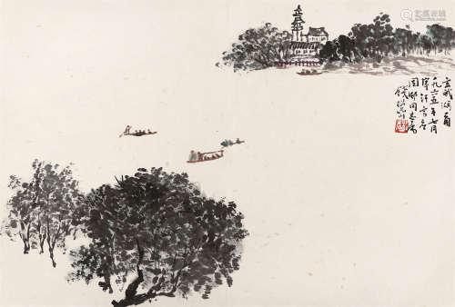 钱松嵒 玄武湖一角 镜心 设色纸本