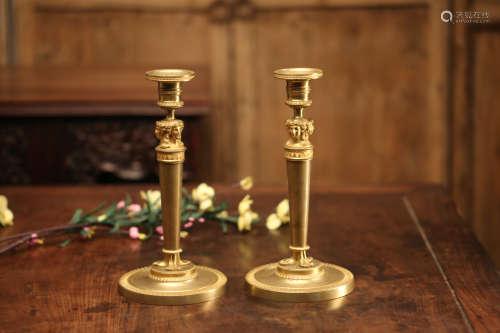 欧洲老铜鎏金烛台一对
