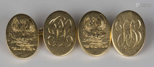 A pair of 18ct gold oval cufflinks, monogram and crest engraved, London 1934 by Stephen J. Rose,