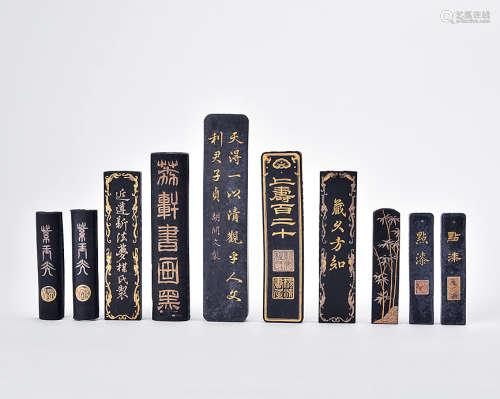 旧描金书法墨条 (十锭)