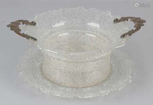 Special 3-piece wet fruit bowl made from ice crystal. Bowl with acular-shaped edges with silver