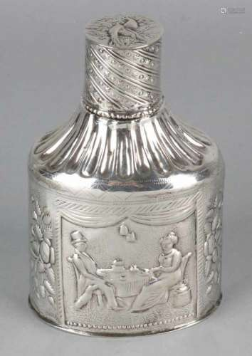 Antique silver tea caddy with passionate floral images and tea-drinking gentleman and lady. Lid with
