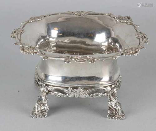 Antique silver sugar bowl, 833/000, square model with turned rim with soldered type of palm trim and