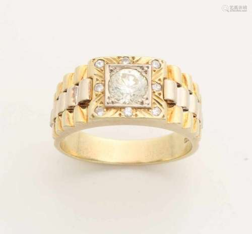 Large yellow gold men's ring, 585/000, with a diamond. Wide men's ring at the top with a switching