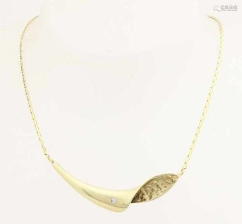 Elegant gold choker 585/000, poly / rough. Charisma choker, indura, organically shaped, with a broad