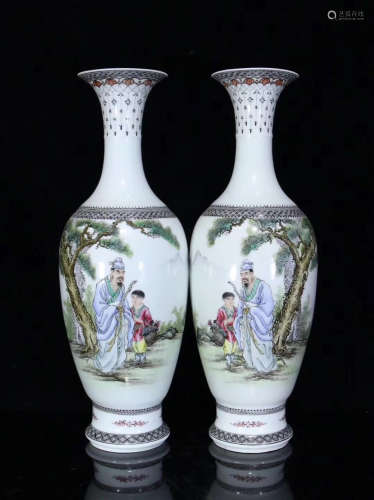 A PAIR OF STORY DESIGN FAMILLE VASE