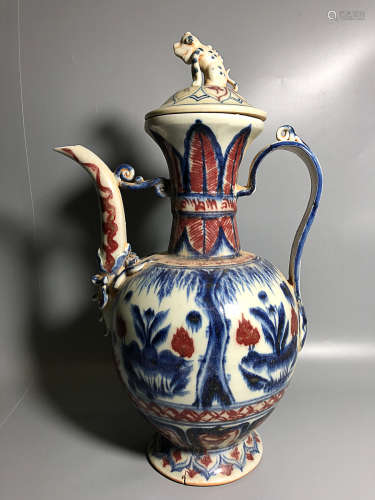 13TH CENTURY, A BLUE&WHITE UNDERGLAZED RED WINE JAR, YUAN DYNASTY