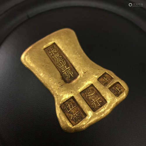 17-19TH CENTURY, A GOLD INGOT OF FIVE OUNCE, QING DYNASTY