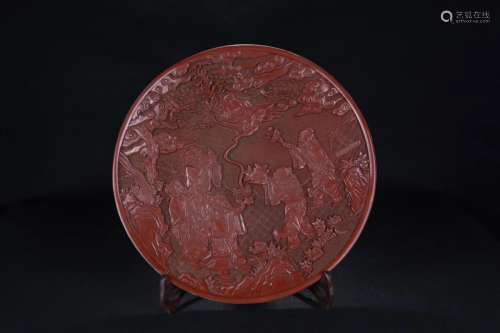 A STORY DESIGN RED LACQUER CARVING PLATE