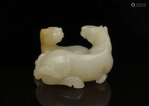 CHINESE WHITE JADE CARVED HORSES