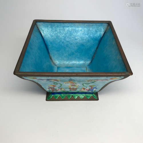 AN ENAMEL SQUARE CENSER WITH ANIMAL EMBOSSING