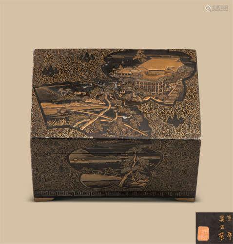 奥田制 铁胎莳绘山水纹长方盒