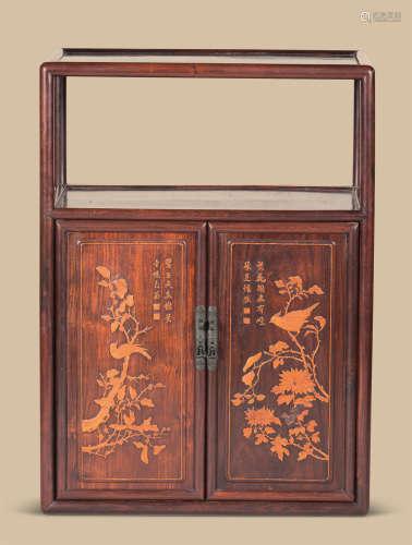 红木嵌黄杨木花鸟纹柜