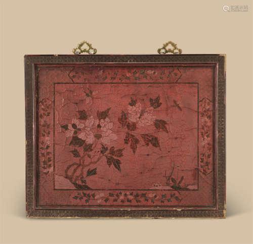 清代(1644-1911) 大漆花卉纹挂屏