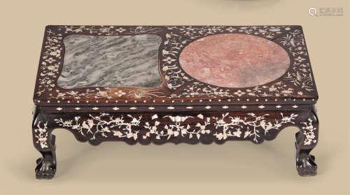 清代(1644-1911) 嵌螺钿嵌大理石长方台