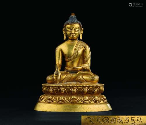 明代(1368-1644) 西藏铜鎏金释迦牟尼造像