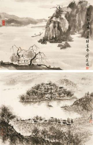 傅益瑶(b.1947) 山水 (二幅) 镜心 水墨纸本