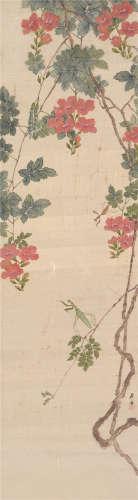 居廉(1828~1904) 红花螳螂 立轴 设色绢本