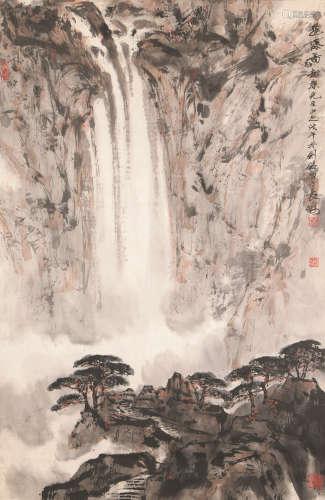 秦剑铭(b.1942) 飞瀑图 镜心 设色纸本