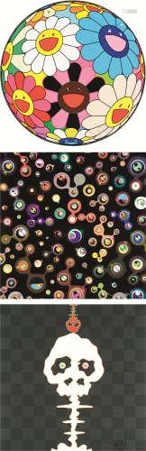 村上隆(b.1962) ①花球 ②水母眼睛 ③银色骷髅 (三幅)
