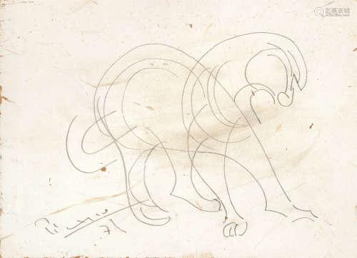 毕加索(1881~1973) 素描马图 水墨木板