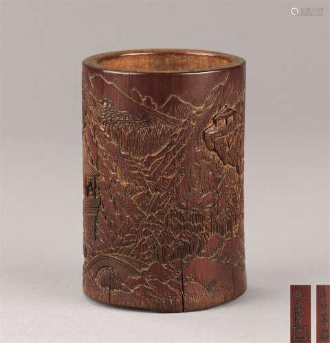 清代(1644-1911) 竹雕山水人物纹笔筒