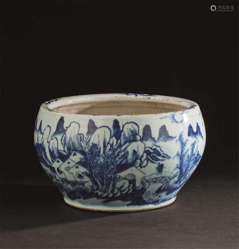 清晚期(1840-1911) 青花山水纹罐