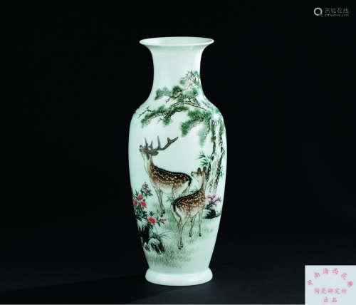 粉彩双鹿纹毛泽东诗文花瓶