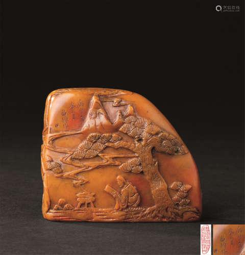 尚均作 寿山石雕髙士纹印章