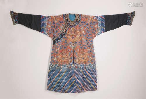 清中期 橙地金线刺绣龙袍