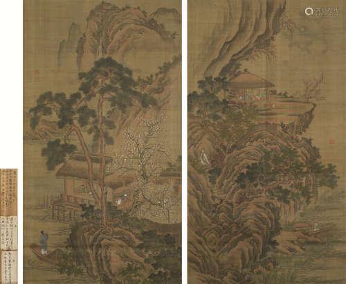 佚名 山水双幅 立轴 设色绢本
