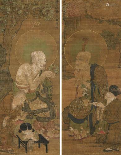 佚名(宋代~元代) 罗汉 双幅 立轴 设色绢本