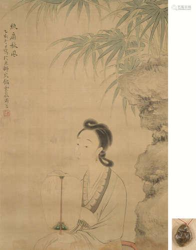 周笠 纨扇秋风 立轴 设色绢本