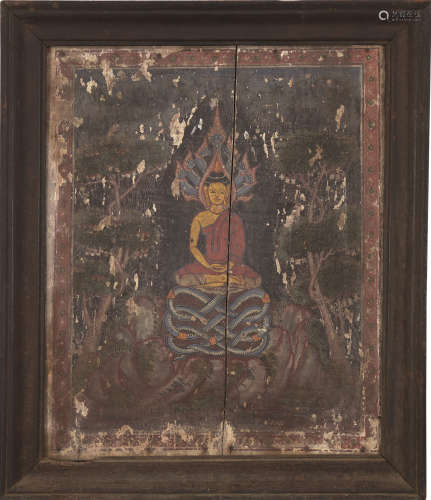 佚名 释迦牟尼像 镜心 设色木板