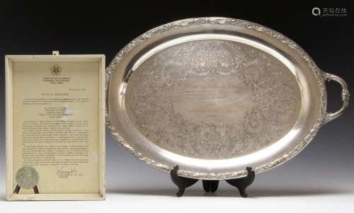 DOUBLE HANDLED PRESENTATION TRAY W/ SIGNED LETTER