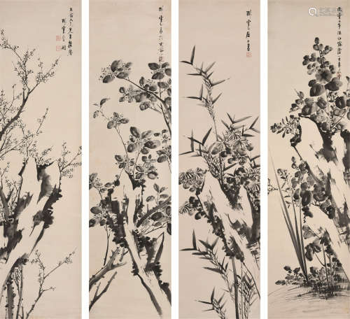 李国(清) 花卉 四屏立轴 纸本