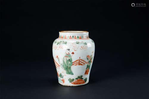清早期  紅綠彩人物紋罐