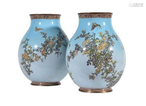 A Pair of Japanese Cloisonné Enamel Vases