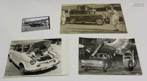 A large collection of approximately 800 black and white motoring related photographs, including a '