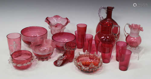 A group of cranberry glassware, late 19th/early 20th century, including three bowls with trailed
